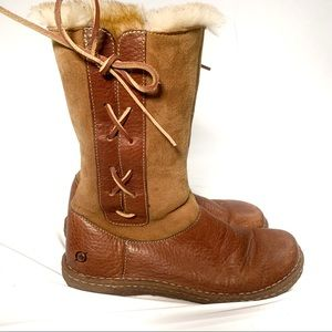 Born Fur Lined Leather and Suede Lace Up Boots
